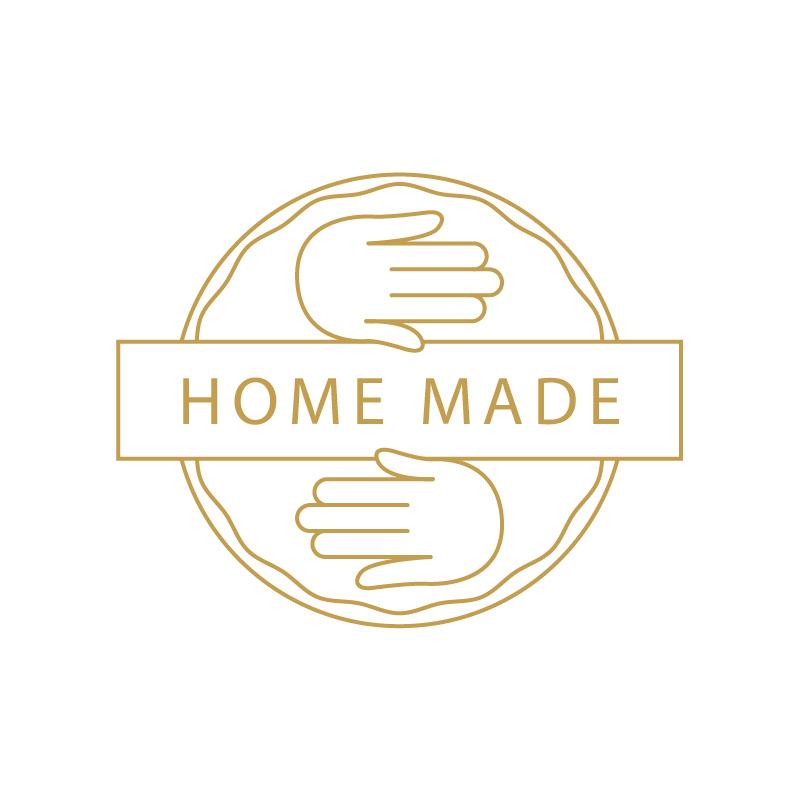 logo chachenga fait maison, home made doré avec mains